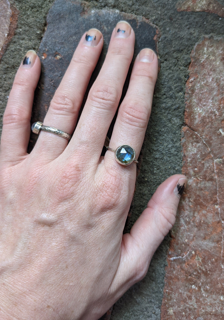12mm Labradorite Faceted Sterling Silver Ring - (Size 7 and 8 Only)