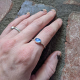 1930's Vintage Blue Sapphire Glass Sterling Silver Ring - (Various Sizes Available)