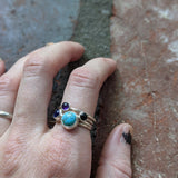 8mm Light Turquoise Howlite Sterling Silver Ring - Various Sizes Available