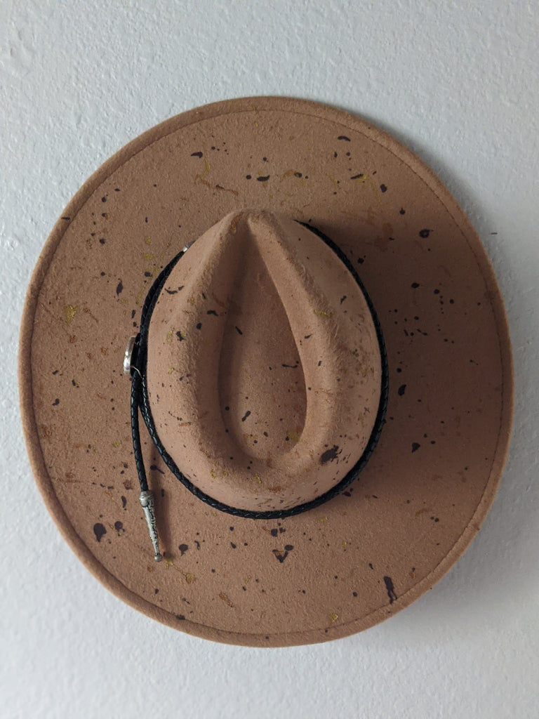 Wide Brim Camel Splatter Hat with Pyrite Hat Band - Size Large