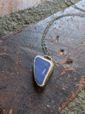 Rare! Ocean Tumbled Blue Tile Pendant on Sterling Silver Chain