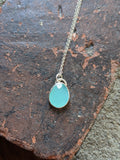 Aqua Chalcedony Checker Faceted Pendant on Sterling