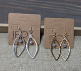 Silver and Gold Leaf and Crystal Earrings (Various Colors Available)