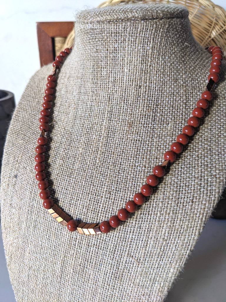 Gemstone and Chevron Bronze Hematite Necklace (Various Stones Available)