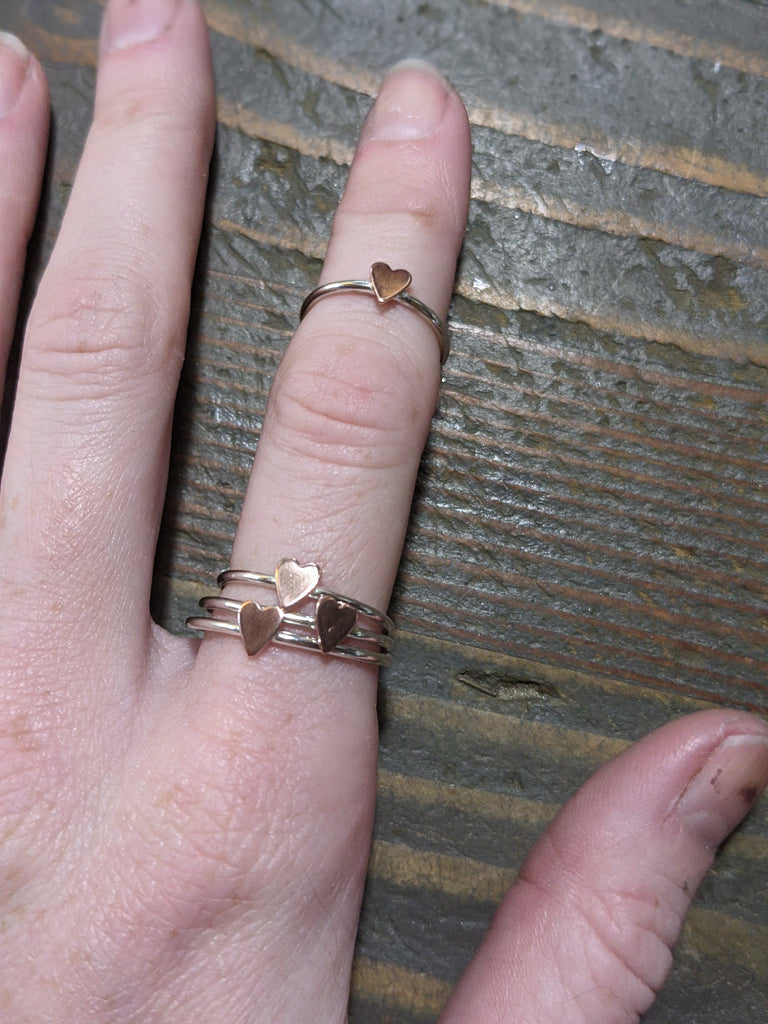 Copper Heart and Sterling Silver Ring