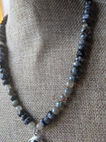 Larvikite Labradorite and Onyx Short Statement Necklace