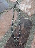 Larvikite Labradorite, Pyrite and Moonstone Short Statement Necklace