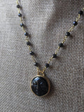 Full Moon Onyx, Brass and Crystal Necklace (MTO)