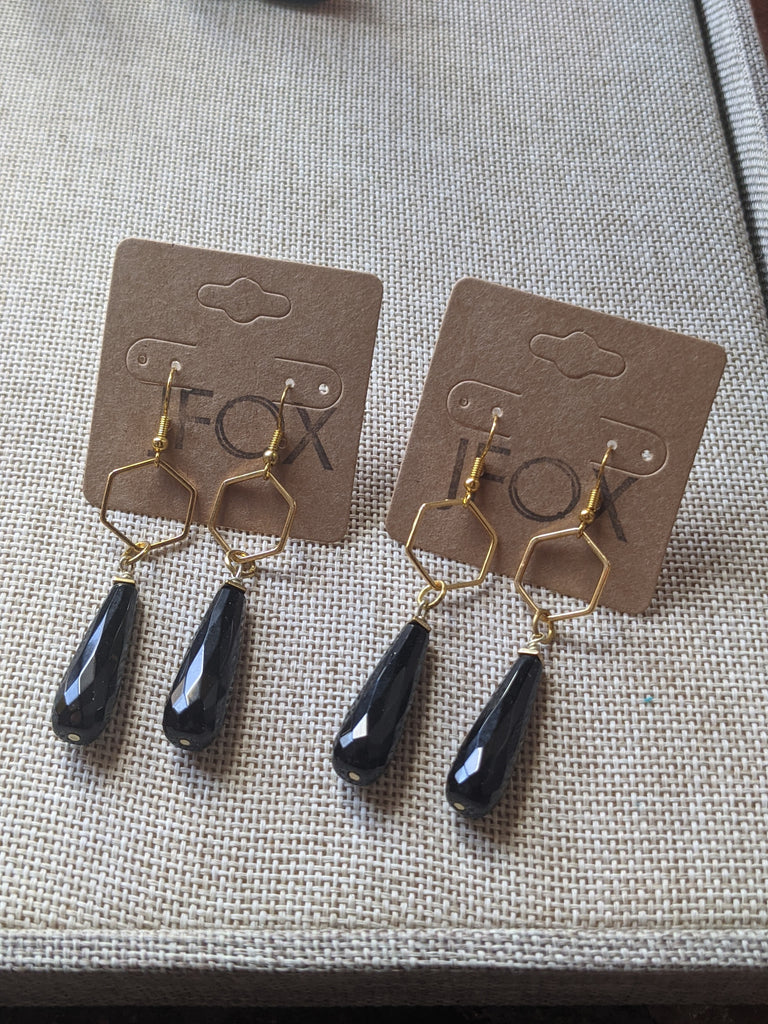 Hexagon and Onyx Drop Earrings (Silver and Gold Available)