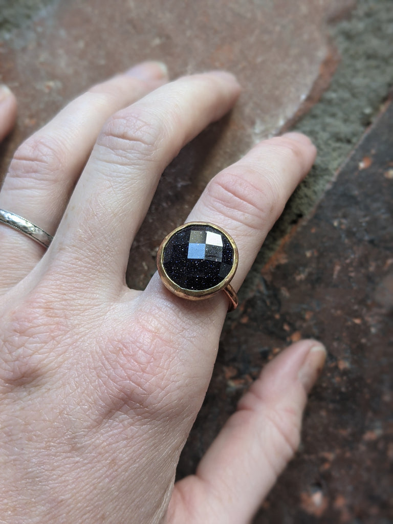 Blue Goldstone Copper and Brass Mixed Metal Ring (5.5 Ready to Ship or MTO)