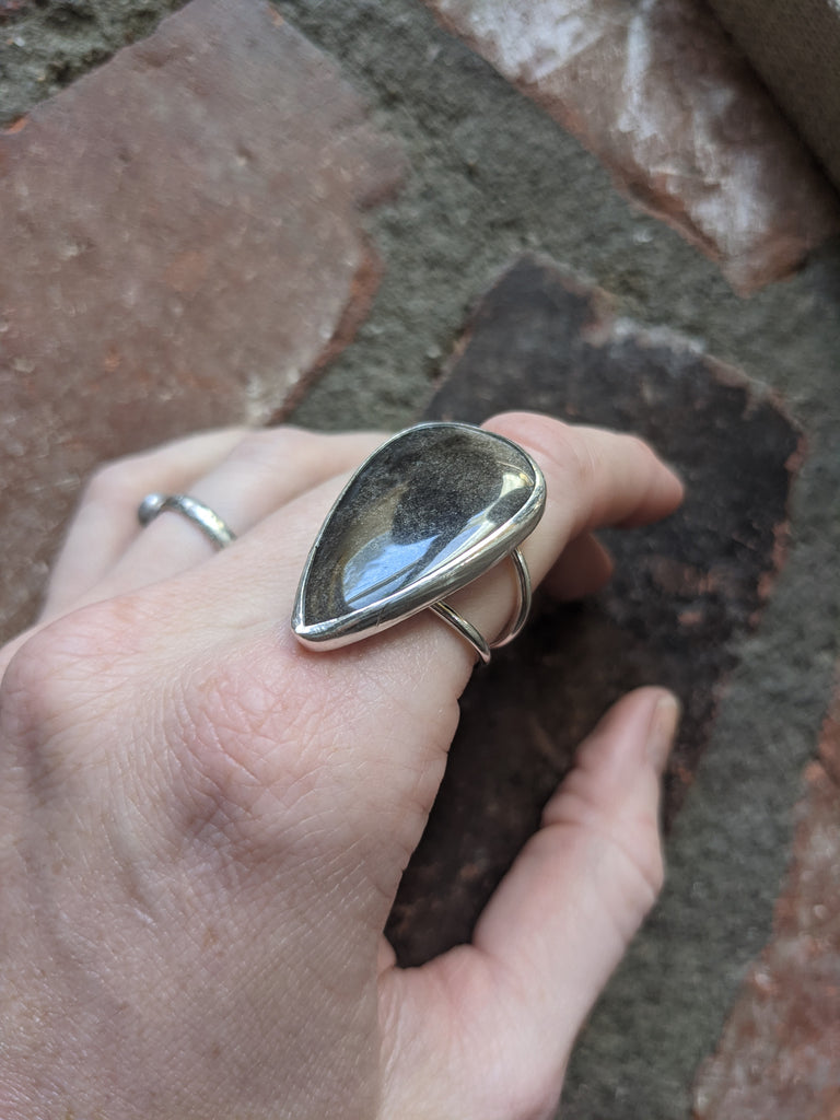 Sheen Obsidian Tear Drop Ring - (Various sizes available)