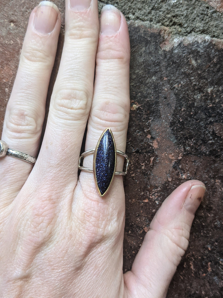 Blue Goldstone Marquise Cut and Crescent Moon Mixed Metal Ring - size 7