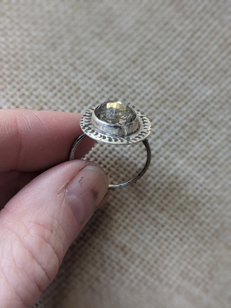 Faceted Quartz and Pyrite Crescent Stamped Ring- MTO Various Sizes Available