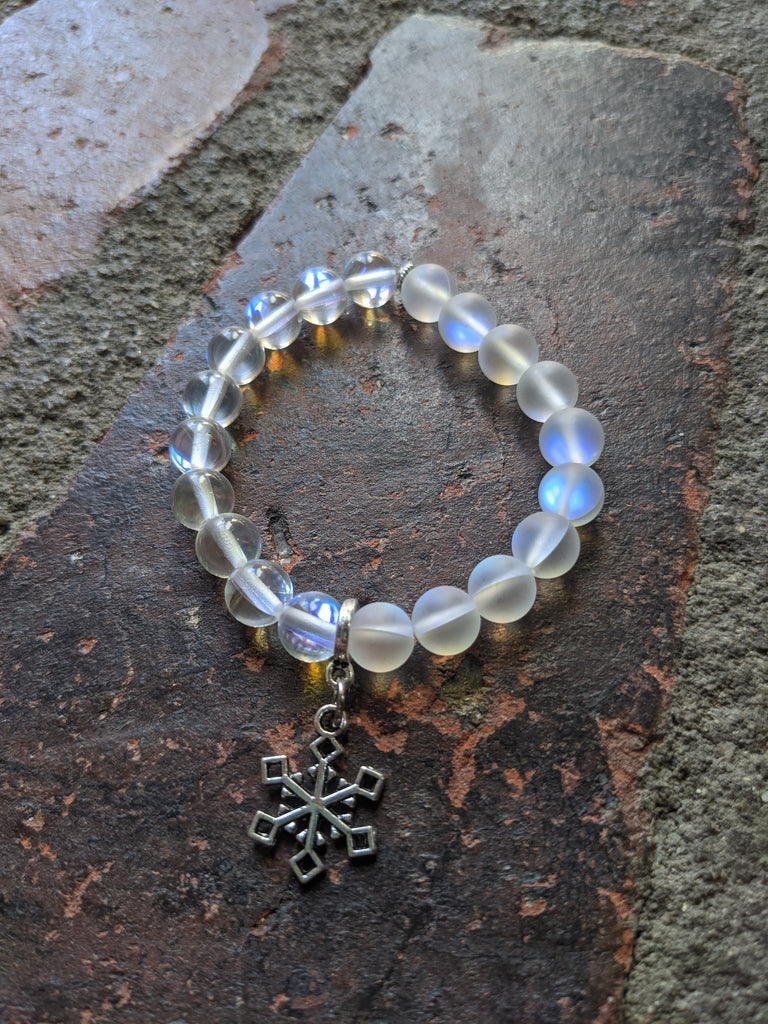 Limited Edition Winter Bracelet! Frosted Aura Crystals and Snowflake Charm