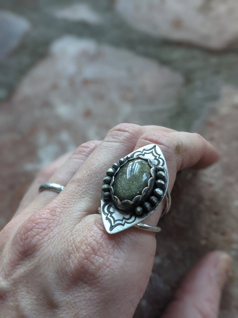Sheen Obsidian Statement Ring - Size 7.5
