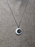 Carved Crescent Moon and Star Pendant on Oxidized Sterling Chain