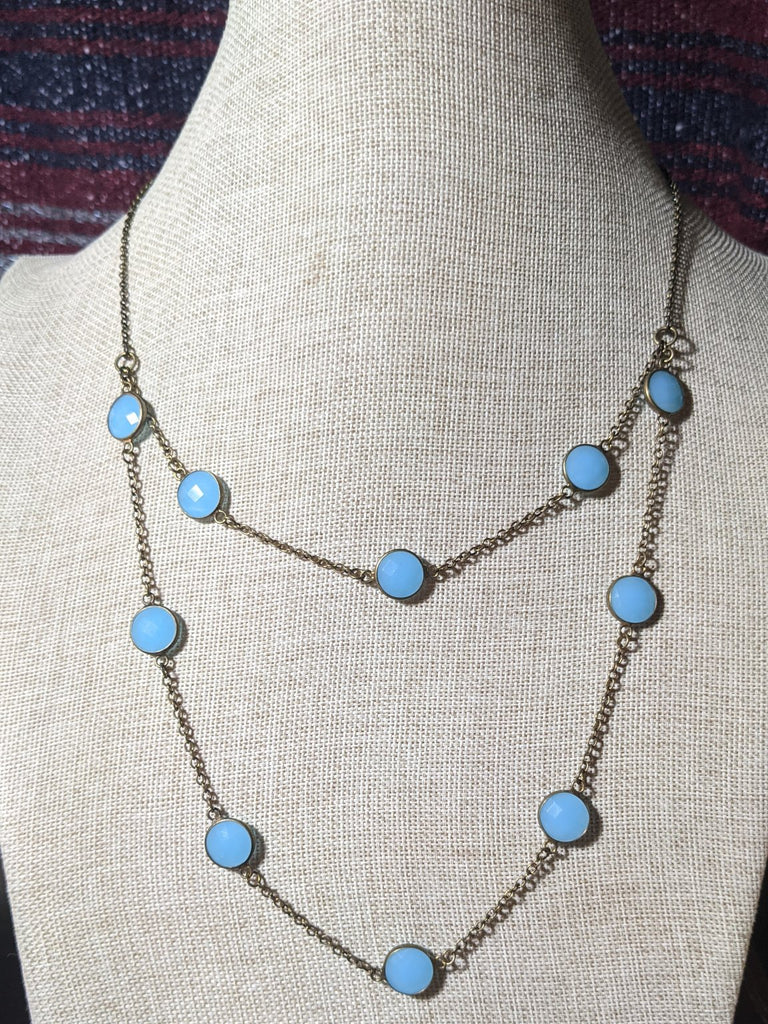 Brass and Blue Crystal Double Layer Necklace