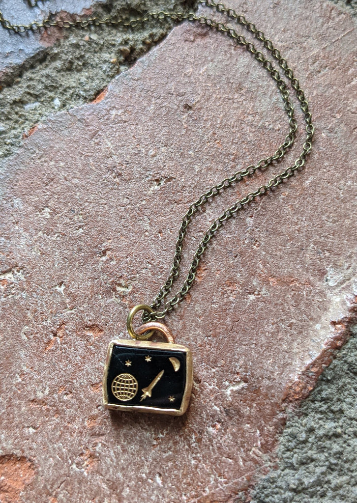 Fly Me to the Moon Vintage Rocket Pendant on Brass