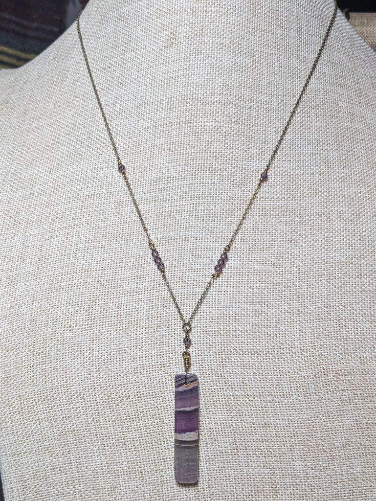 Amethyst and Purple Crystal Brass Necklace