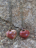Red Jasper Large Heart Necklace on Brass