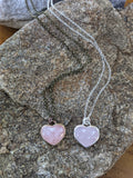 Rose Quartz Large Heart Necklace (Available in Silver and Brass)
