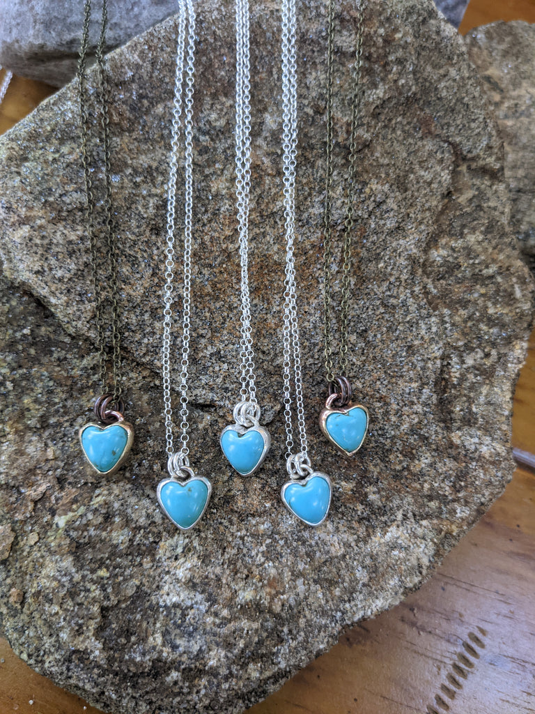 Turquoise Mini Heart Necklace (Available in Brass)
