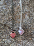 Cherry Quartz Mini Heart Necklace (Silver)