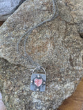 Silver Heart Lock Necklace (Variety of Stones Available)