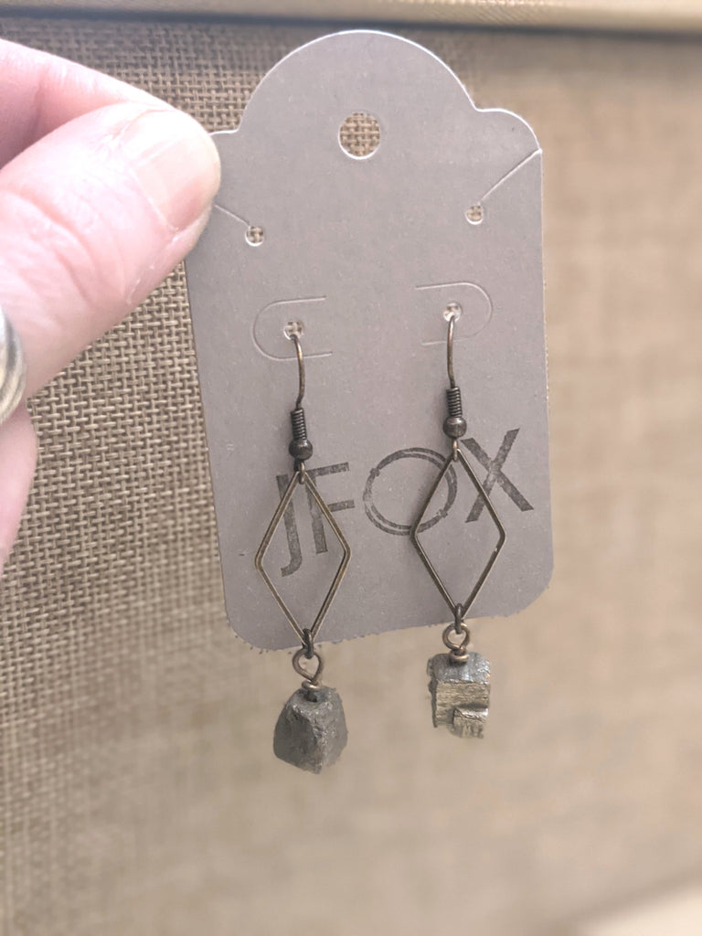 Cubed Pyrite Geometric Diamond Brass Earrings