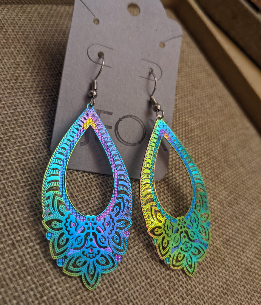 Rainbow Peacock Pride Earrings