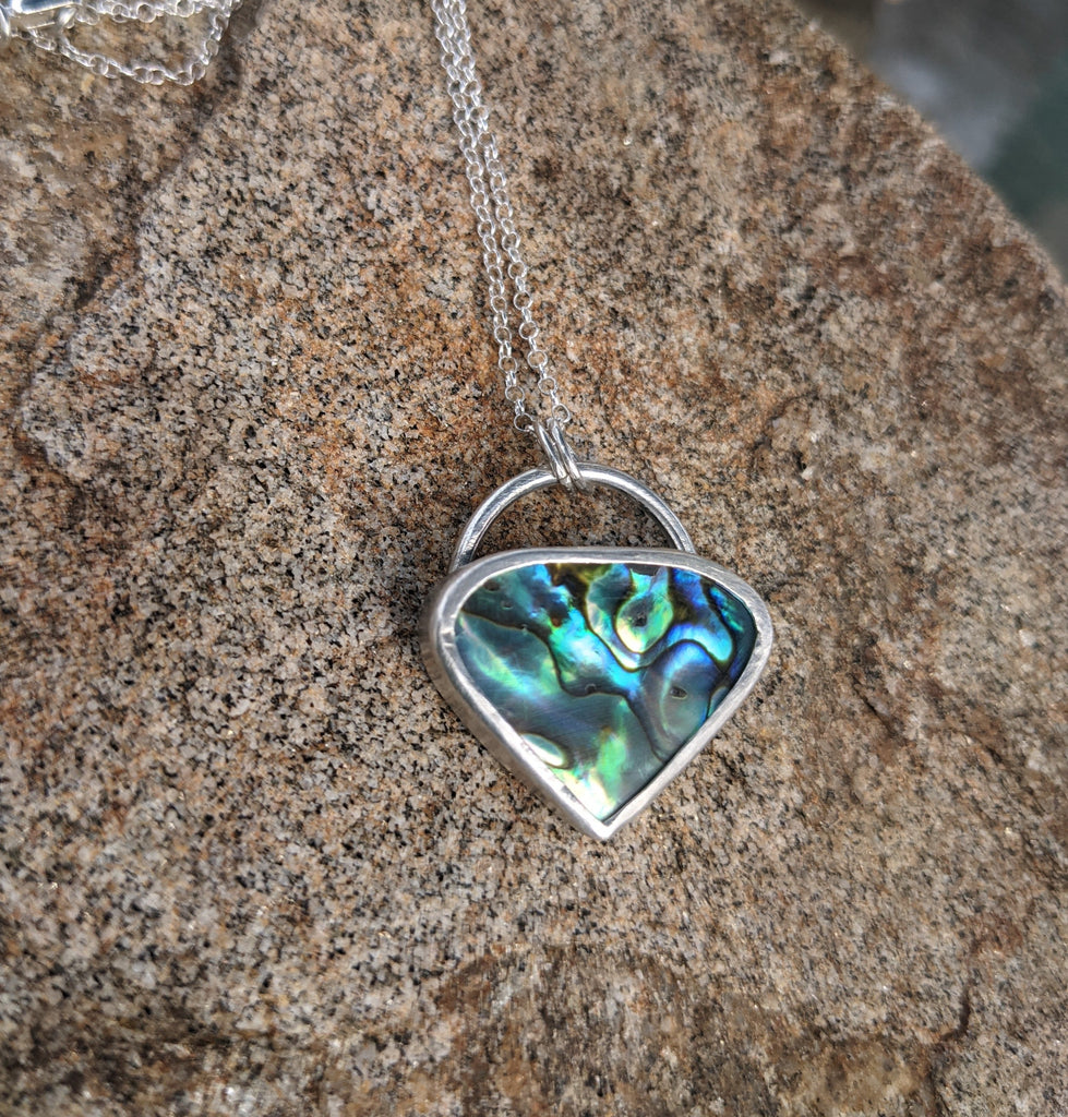 Abalone Pendant on Sterling Necklace