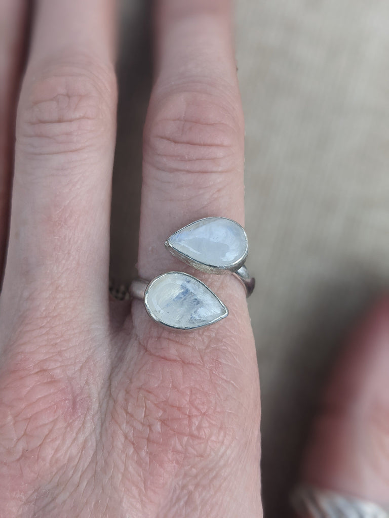 Double Moonstone Tear Drop Adjustable Wrap Ring