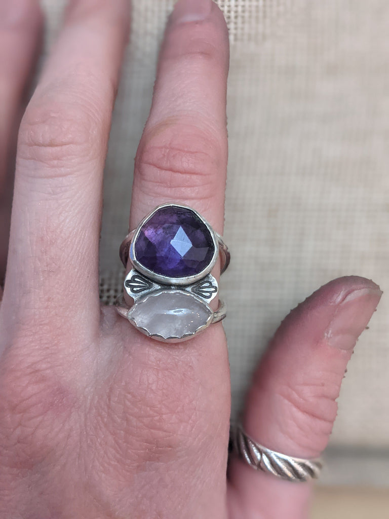 Amethyst and Lavender Jade Statement Ring (Size 6.5 & 8 Only)