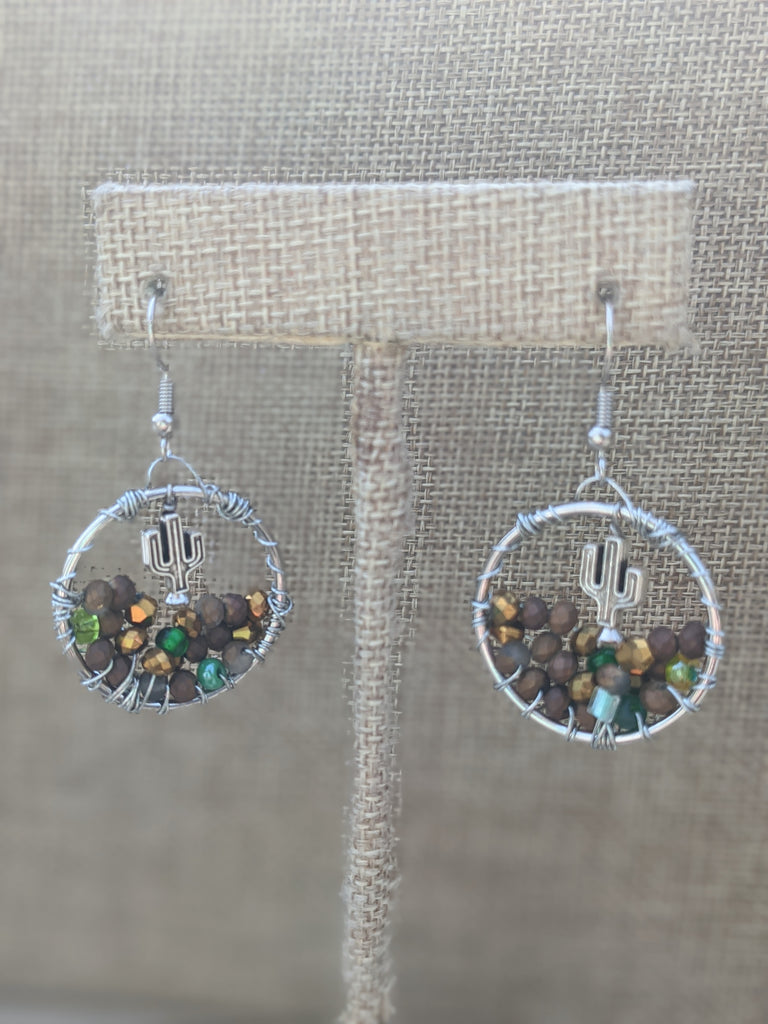 Cactus Desert Landscape Wire-wrapped Statement Earrings