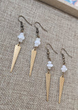 Stone and Brass Triangle Point Earrings (Various Stones Available)