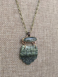Green Kyanite and Jasper Carved Leaf Necklace in Brass