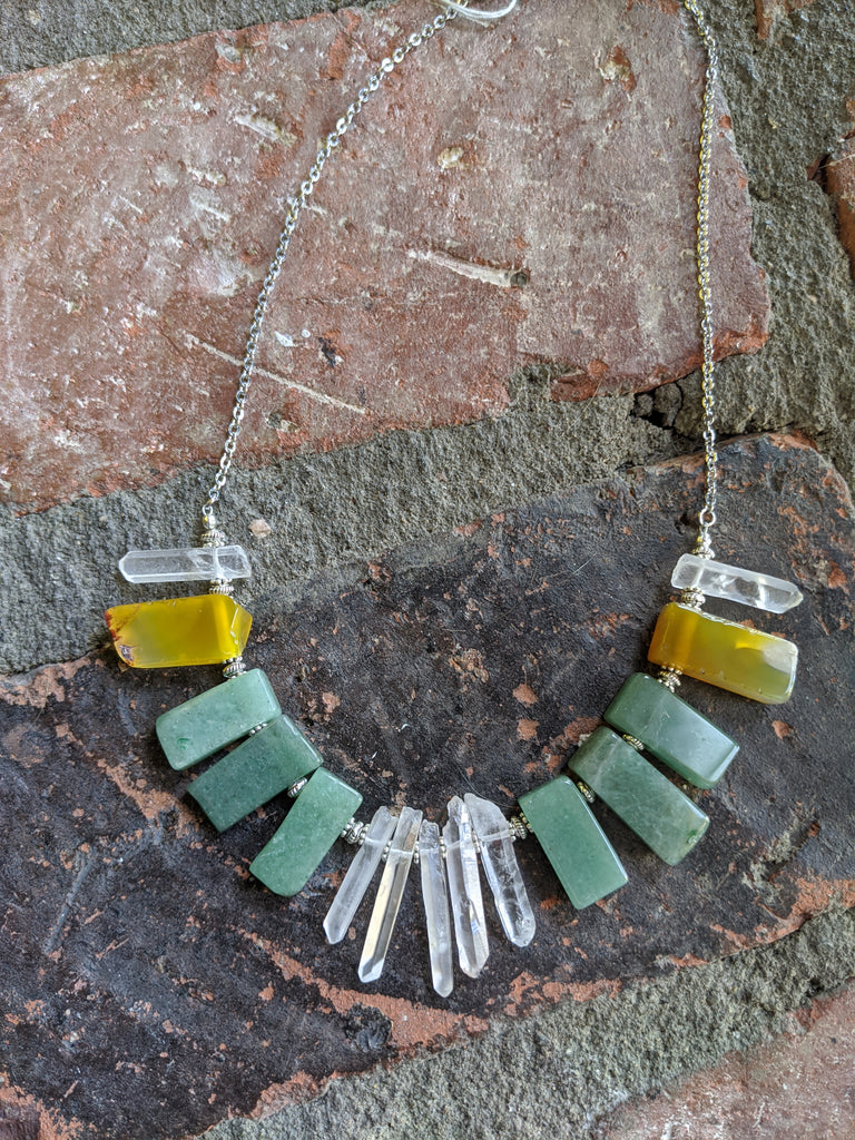 Quartz, Agate and Green Aventurine Statement Necklace on Stainless