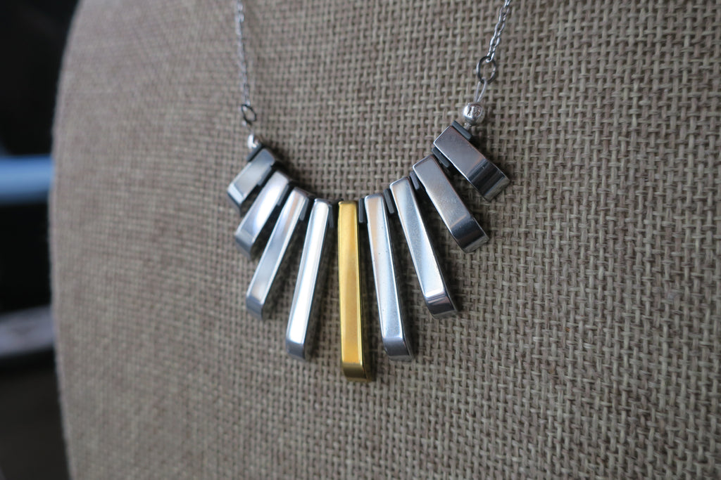 Silver and Gold Hematite Statement Necklace on Silver