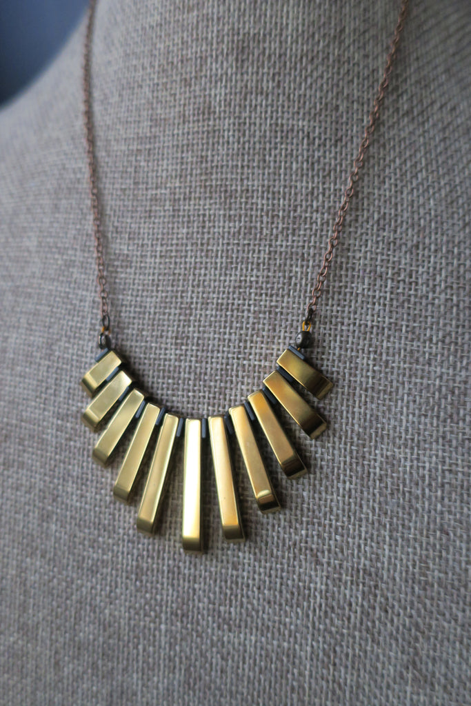 Gold Hematite Gradient Statement Necklace on Brass