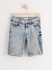 Slim fit denim jersey shorts
