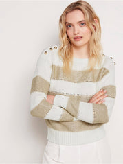 Stribet glittery strikket sweater