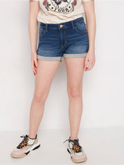 Regular fit denim jersey shorts