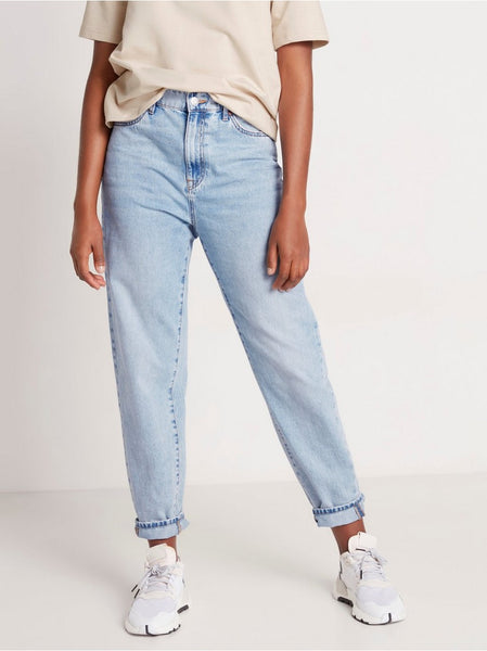 High waist jeans med tapered leg