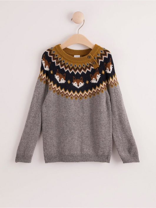Strikket Fair Isle ræve sweater