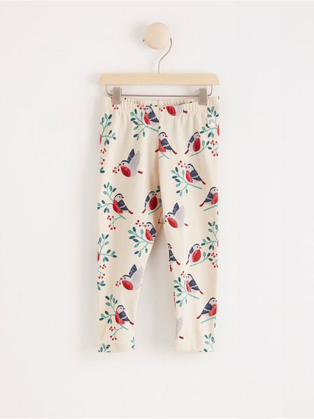 Leggings med bullfinch print