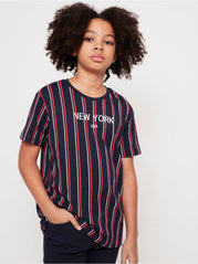 stribet t-shirt med print