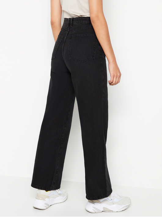 High waist jeans med wide leg