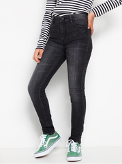 Sorte slim fit high waist jeans med rhinesten
