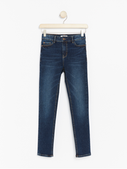 Mørkeblå slim fit high waist jeans med super stretch
