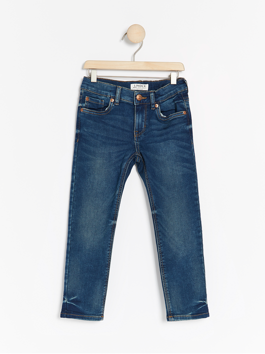 Blå regular fit jersey jeans